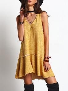 Vestido corto cuello v amarillo