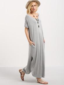 Vestido manga corta bolsillo gris