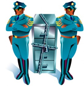 Two Guards And Locked Files --- Image by © Images.com/Corbis